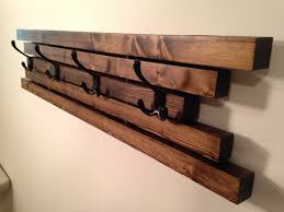rustic wall mount wooden coat rack 4 hook coat hanger