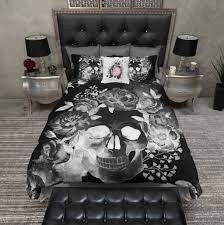 Skull Bedroom Curtains Black Night Watercolor Skull Duvet Bedding Sets Ink And Rags