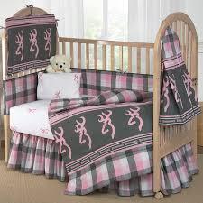 Buckmark Plaid Pink & Gray Crib Bedding