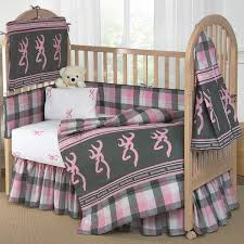 buckmark plaid pink gray crib bedding