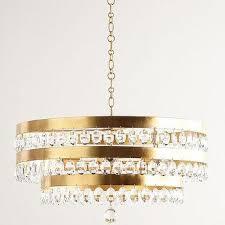 perla round 3 tier gold crystals chandelier