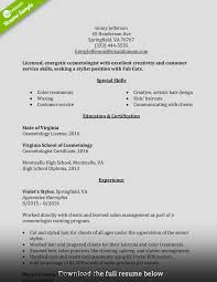 Cosmetology Resume Free Resume Example And Writing Download