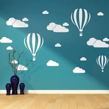hot air balloon and cloud wall decal