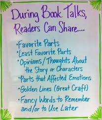 Book Talk Anchor Chart Talking Activity Book Talk Suggestions Students Can