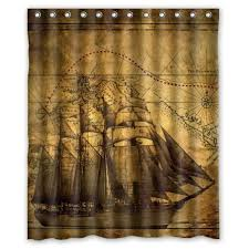 geeky shower curtains. Sea Secret Vintage Design New Style Nautical Sailing Pirate Ship Theme Polyester Bathroom Shower Curtain 60(W)(H)-Inch Geeky Curtains O