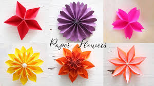 Paper Flower Folding 6 Easy Paper Flowers Flower Making Diy