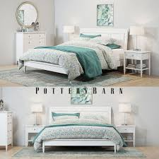 Pottery Barn Crosby White Bedroom set 3D | CGTrader