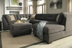 U Shaped Couch Living Room Furniture Elegant Chic Gray Velvet And Black Leather Sectional Sofa With F