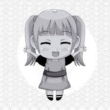 円形フレームとかわいいアニメの女の子式幸福ベクトル イラスト モノクロの抽象的な背景