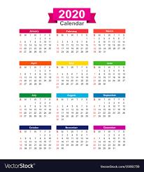 2020 calandars 2020 year calendar isolated on white background