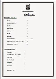 Marriage Biodata Format In Word File Free Download Invitation Resume