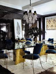 crystal dining room for luxurious impression. Chandelier:A Luxurious Dining Room Chandelier In A Patterned Blue Wallpaper With Long Glass Crystal For Impression