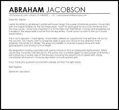 Letter For Power Of Attorney Power Of Attorney Resignation Letter Example Letter