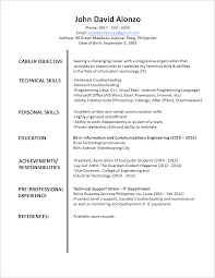 Sample Resume Format For Fresh Graduates Cover Letter Objectives