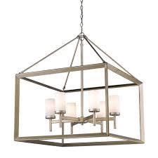 golden lighting s smyth 6 light chandelier white gold opal glass 2073