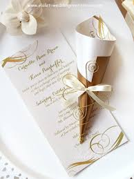 Scroll Wedding Invitation Gold And Ivory Violet Handmade Wedding