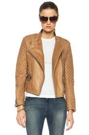 image 1 of barbara bui quilted lambskin moto jacket in tan