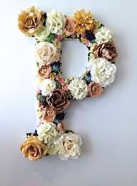 dried fall flower letters
