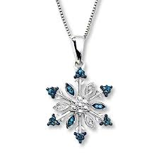 snowflake necklace blue white diamonds sterling silver tap to expand