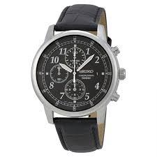 seiko sndc33 men s chronograph black dial black genuine leather