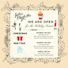 julie myrtille s opening hours during the holiday season julie  we are open xmas2017