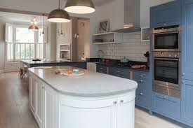 bullnose edge quartz countertop maya wilson blue cabinet kitchen