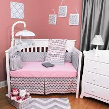 bedding sets by bsm baby chevron zig zag pink and gray 4 piece baby