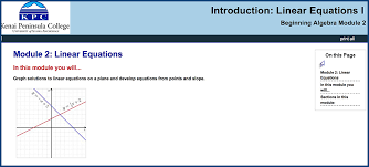 beginning algebra module 2 linear equations i includes pre sment introduction linear equations i section 1