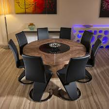 large round walnut dining table set 8 x black black z shape chairs new