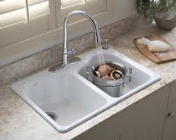 hartland self kitchen sink by kohler sinks plus marble countertop and moder faucet for kitchen