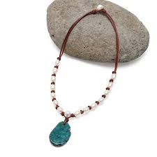 aobei pearl handmade necklace made of freshwater pearl leather cord and natural stone pendant ets s820
