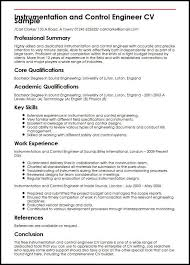 Skills For Engineering Resumes Instrumentation And Control Engineer Cv Sample Myperfectcv