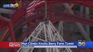 A Man Atop Large Tower At Knott's Berry ...