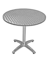 closeout 24 round table height commercial outdoor aluminum table base with stainless steel table
