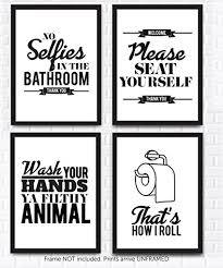 >amazon typography bathroom wall art pictures set of 4 funny  typography bathroom wall art pictures set of 4 funny bathroom quotes rules