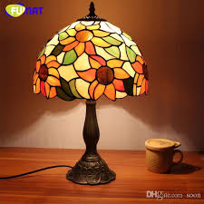 2018 fuamt stained glass table lamps vintage sunflower desk lamp living room bedside lamp brushed nickel glass lamp light from soon 127 64 dhgate com