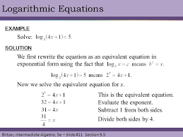 logarithmic equations