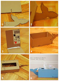 how to make a cardboard whale tissue box holder