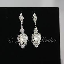crystal wedding earrings vintage bridal earrings swarovski crystal chandelier earrings wedding jewelry estella crystal earrings