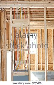 electrical wiring in a new house under construction stock photo electrical wiring from a breaker box in a new home under construction stock photo
