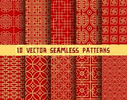 Asian Patterns Simple Chinese Red And Golden Seamless Vector Patterns Of Abstract