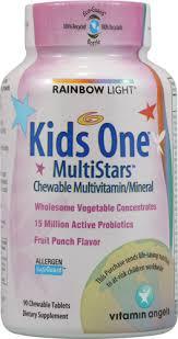 peach vitamins rainbow light kids one multistars multivitamin fruit punch 90 chewable tablets