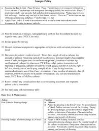 Sample Policy Policy And Procedure Picc Line Peripherally