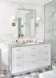 White Washstand With Gray Waterfall Countertop Transitional Bathroom
