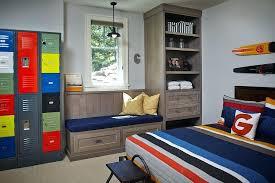 Kids Bedroom Lockers Reclaimed Lockers Serve As Shelves In The Kids Room  Painted In Gray Bedroom . Kids Bedroom Lockers ...