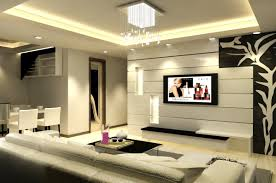 Living Room:Modern Living Room With TV Background Wall Decoration Idea  Contemporary Living Room with