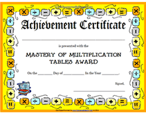 achievement awards for elementary students free printable math mastery of multiplication tables achievement