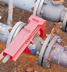 ball valve lockout. blind flange lockouts; ball valve lockout fits size 50mm to 200mm blue
