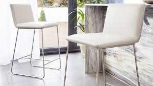 cool grey leather bar stools