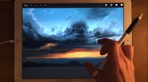 apple pencil drawing ipad pro painting demo how to paint sky in procreate art app you